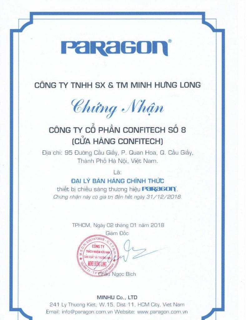 Chứng nhận đại lý Paragon 2018