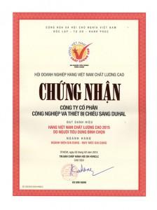 DUHAL đạt chứng nhận nhãn hiệu Hàng Việt Nam chất lượng cao năm 2015
