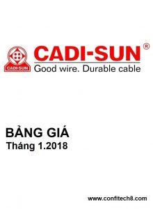 Bảng giá dây và cáp điện CADISUN (01/2018)