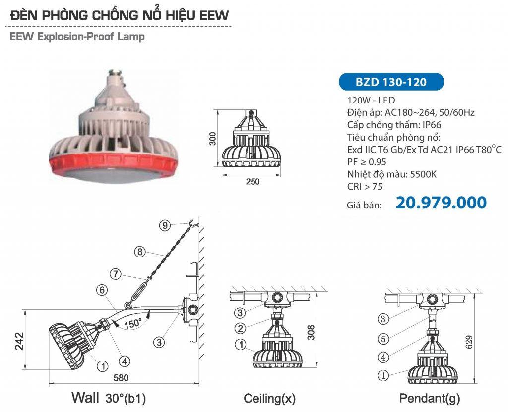 Đèn phòng chống nổ Paragon led 120w (BZD 130-120) - 2