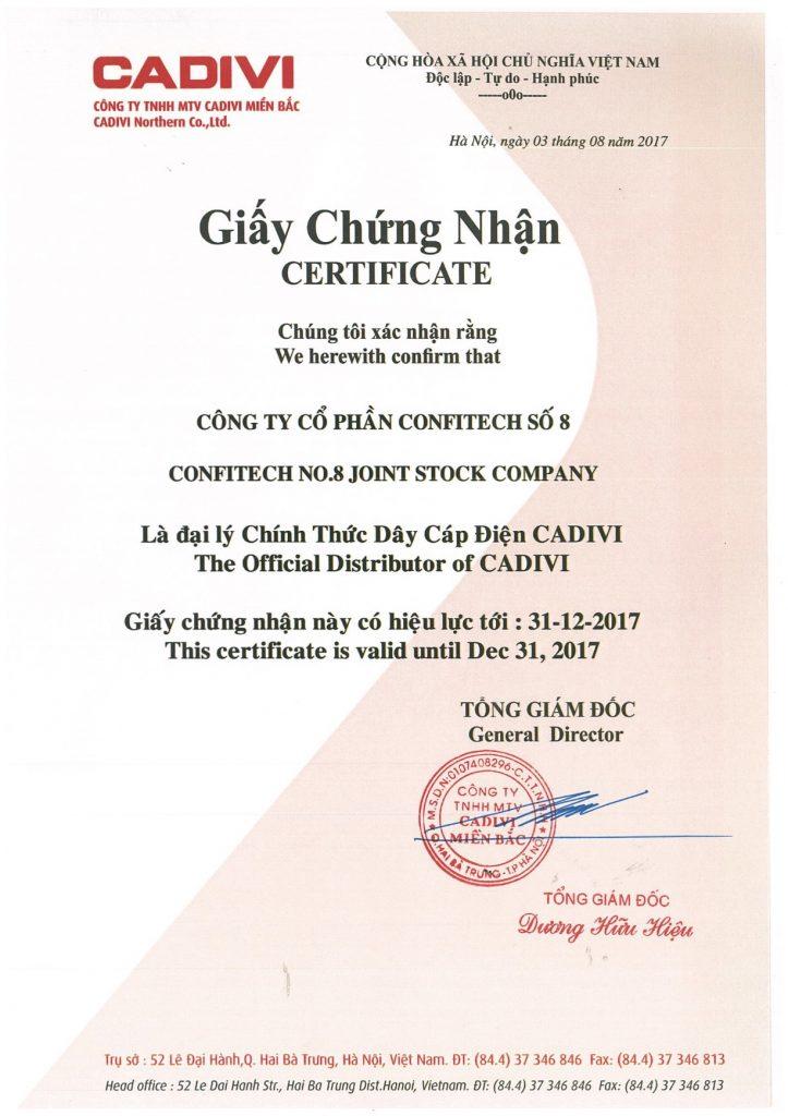 Chứng nhận đại lý CADIVI
