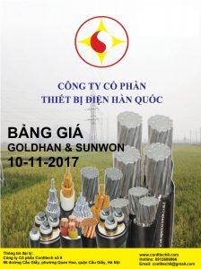 Bảng giá dây và cáp điện Hàn Quốc GOLDHAN & SUNWON (12/08/2016)